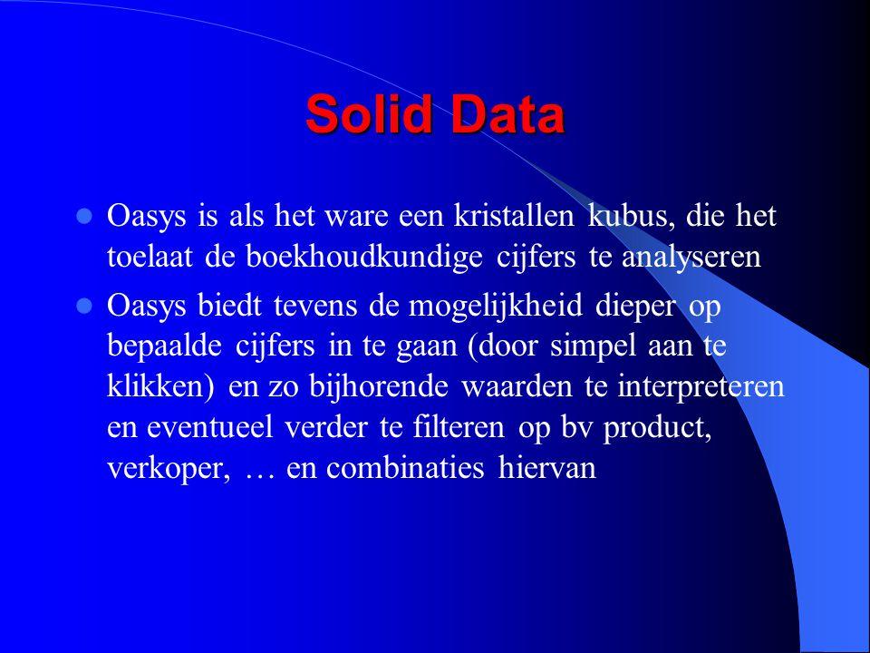 Solid Data Oasys is als het ware een kristallen kubus, die het toelaat de boekhoudkundige cijfers te analyseren Oasys biedt tevens de mogelijkheid dieper op bepaalde cijfers in te gaan (door simpel aan te klikken) en zo bijhorende waarden te interpreteren en eventueel verder te filteren op bv product, verkoper, … en combinaties hiervan
