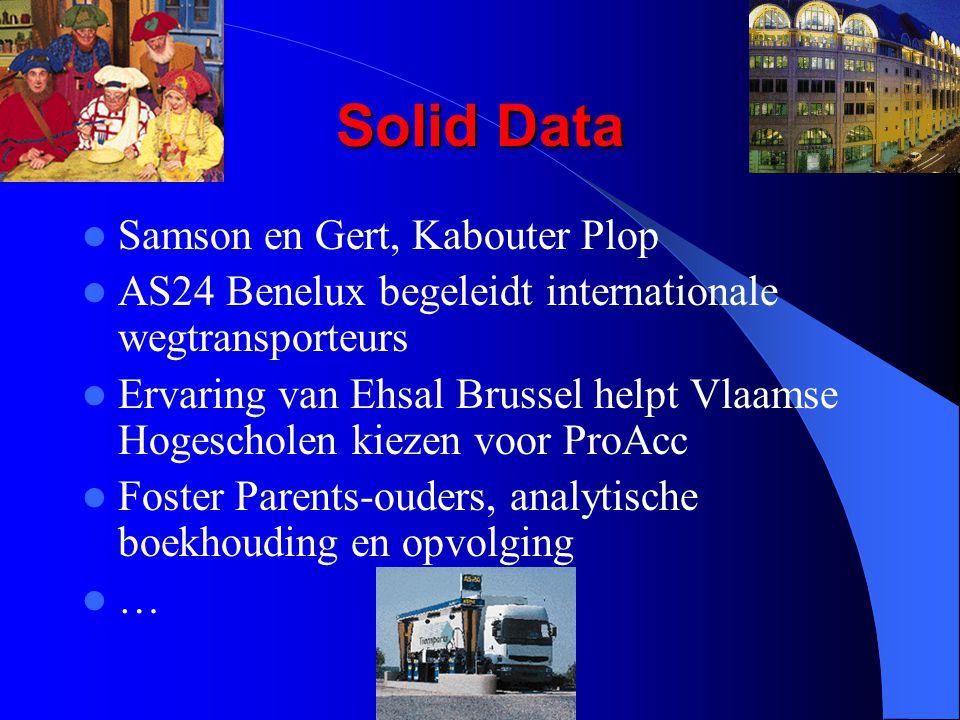 Solid Data Samson en Gert, Kabouter Plop AS24 Benelux begeleidt internationale wegtransporteurs Ervaring van Ehsal Brussel helpt Vlaamse Hogescholen kiezen voor ProAcc Foster Parents-ouders, analytische boekhouding en opvolging …