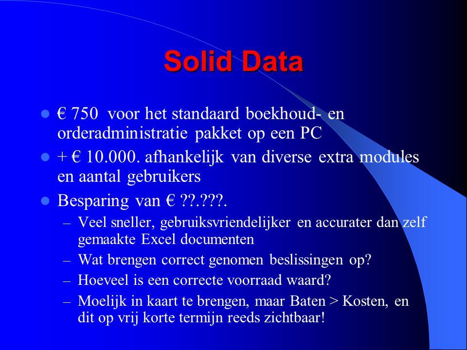 Solid Data € 750 voor het standaard boekhoud- en orderadministratie pakket op een PC + € 10.000. afhankelijk van diverse extra modules en aantal gebru