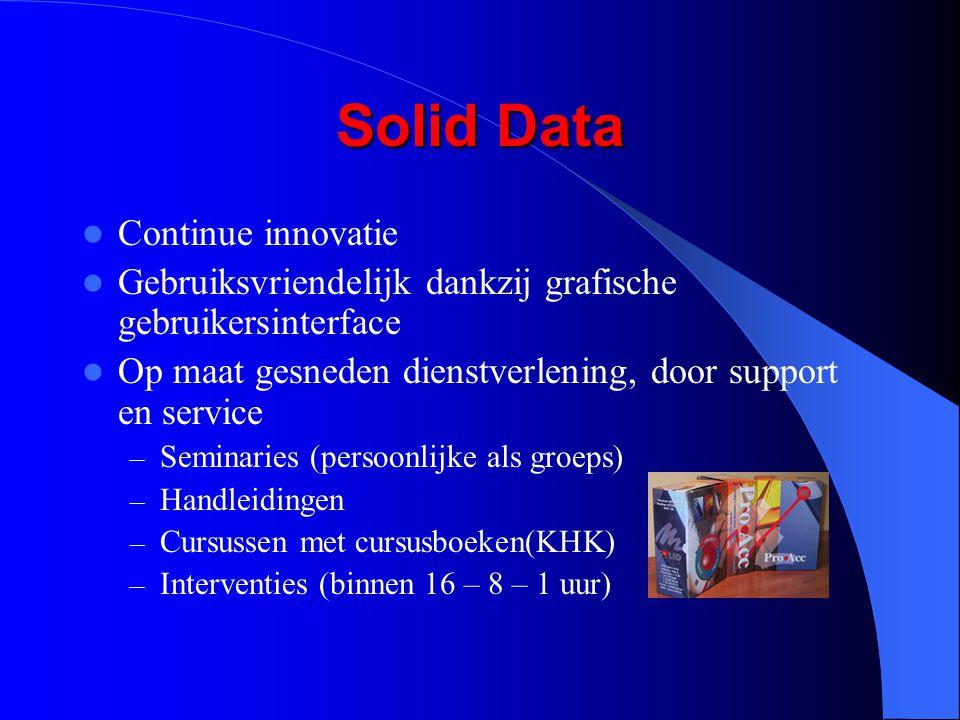 Solid Data Continue innovatie Gebruiksvriendelijk dankzij grafische gebruikersinterface Op maat gesneden dienstverlening, door support en service – Se