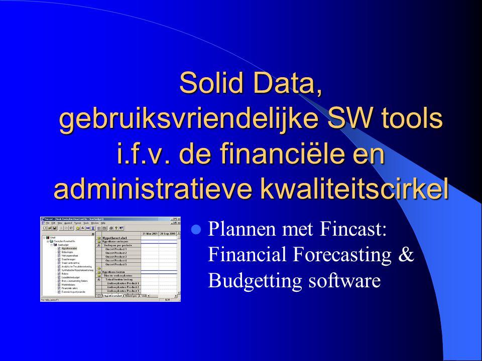 Solid Data, gebruiksvriendelijke SW tools i.f.v. de financiële en administratieve kwaliteitscirkel Plannen met Fincast: Financial Forecasting & Budget