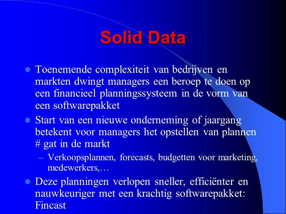 Solid Data Toenemende complexiteit van bedrijven en markten dwingt managers een beroep te doen op een financieel planningssysteem in de vorm van een s