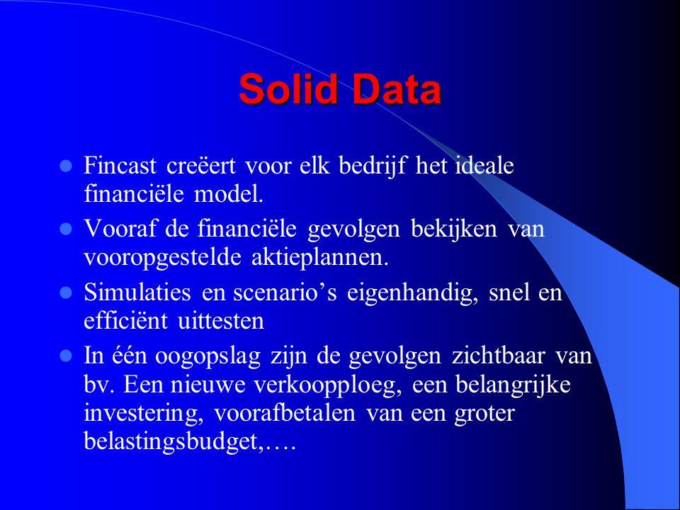 Solid Data Fincast creëert voor elk bedrijf het ideale financiële model. Vooraf de financiële gevolgen bekijken van vooropgestelde aktieplannen. Simul