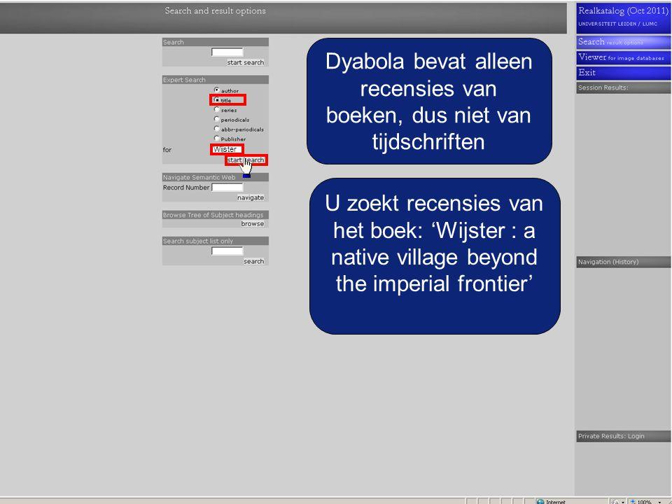 Dyabola bevat alleen recensies van boeken, dus niet van tijdschriften U zoekt recensies van het boek: 'Wijster : a native village beyond the imperial