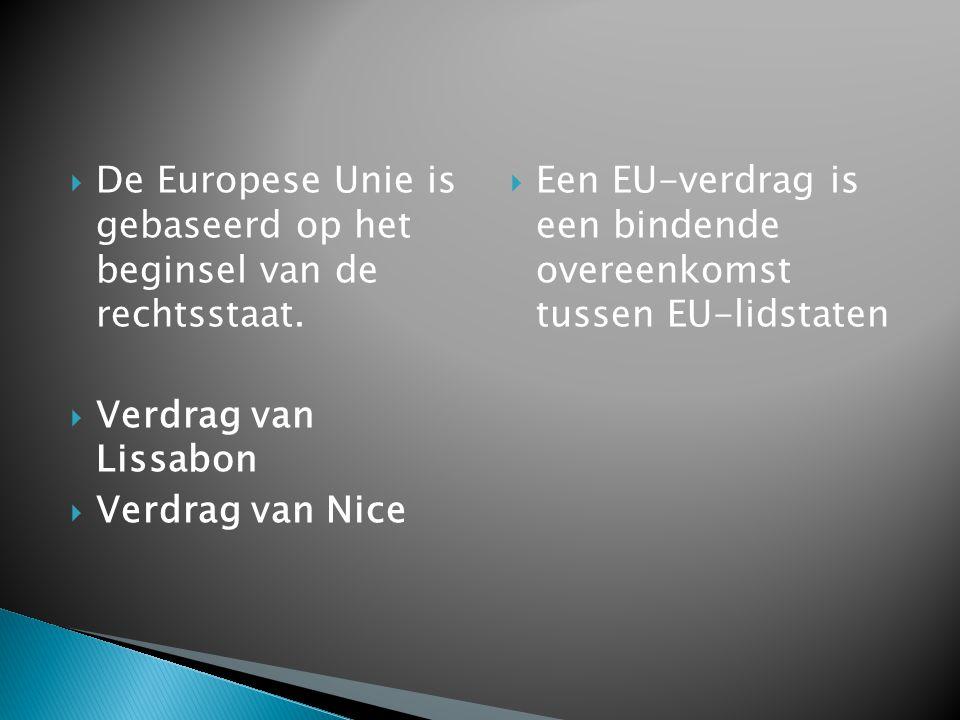  De Europese Unie is gebaseerd op het beginsel van de rechtsstaat.  Verdrag van Lissabon  Verdrag van Nice  Een EU-verdrag is een bindende overeen