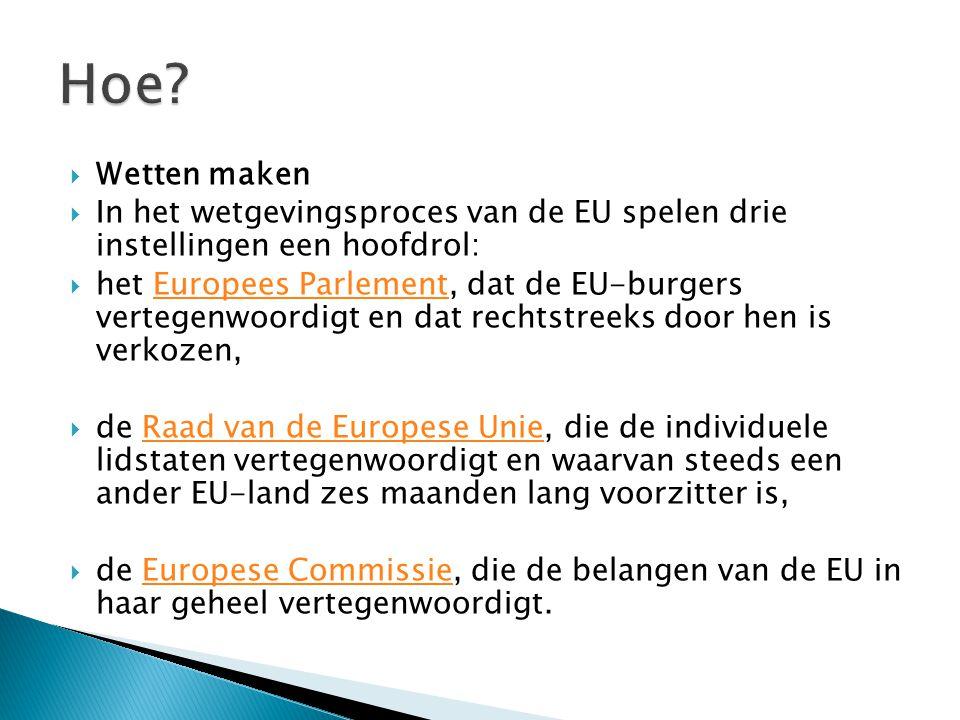  Wetten maken  In het wetgevingsproces van de EU spelen drie instellingen een hoofdrol:  het Europees Parlement, dat de EU-burgers vertegenwoordigt