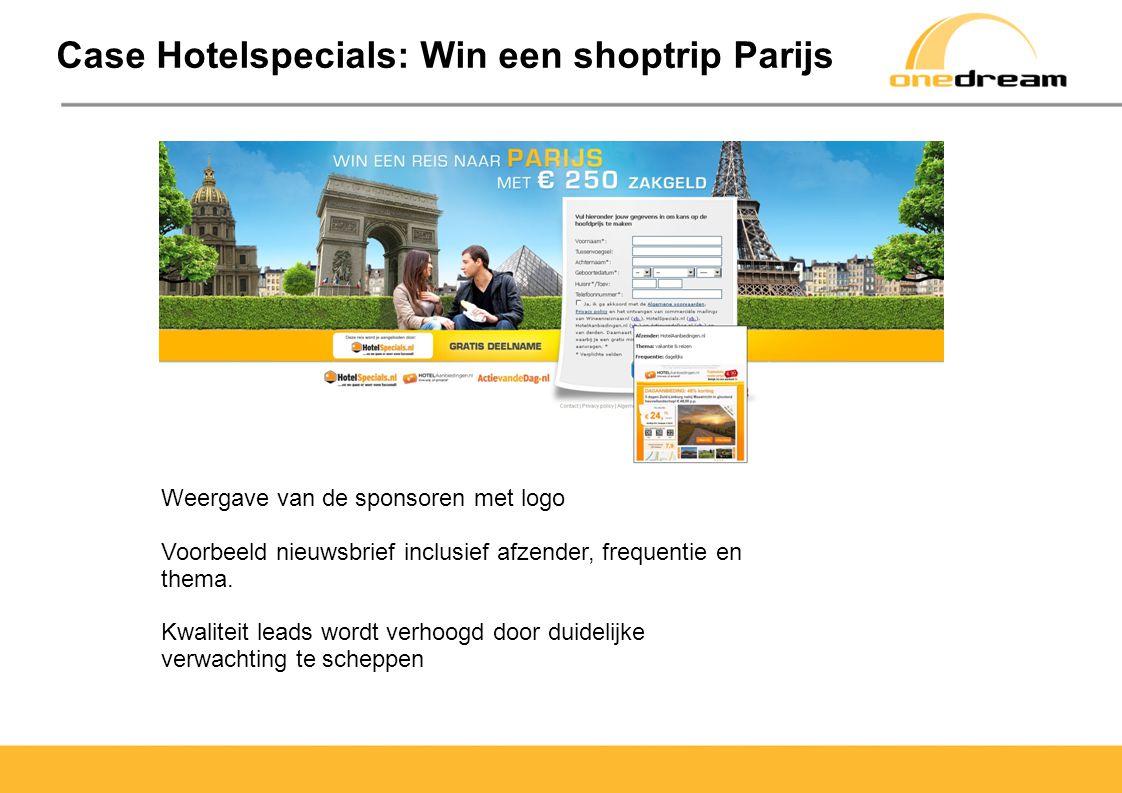 Case Hotelspecials: Win een shoptrip Parijs Weergave van de sponsoren met logo Voorbeeld nieuwsbrief inclusief afzender, frequentie en thema.