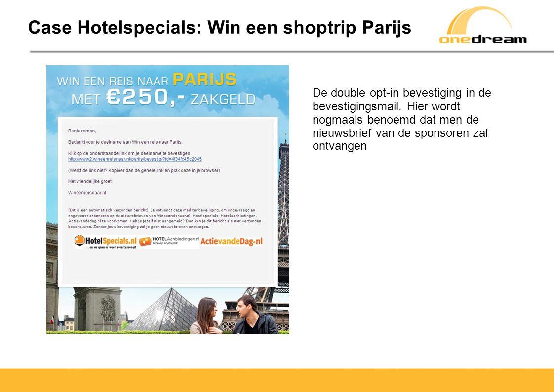 Case Hotelspecials: Win een shoptrip Berlijn Na bevestiging weer vertoning van de logo s van de sponsoren Tevens mogelijkheid tot delen met vrienden op Social Media