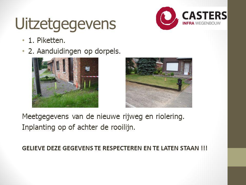 Uitzetgegevens 1.Piketten. 2. Aanduidingen op dorpels.