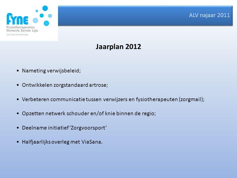 ALV najaar 2011 Jaarplan 2012 Nameting verwijsbeleid; Ontwikkelen zorgstandaard artrose; Verbeteren communicatie tussen verwijzers en fysiotherapeuten
