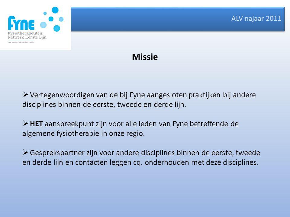 ALV najaar 2011 Missie  Vertegenwoordigen van de bij Fyne aangesloten praktijken bij andere disciplines binnen de eerste, tweede en derde lijn.  HET