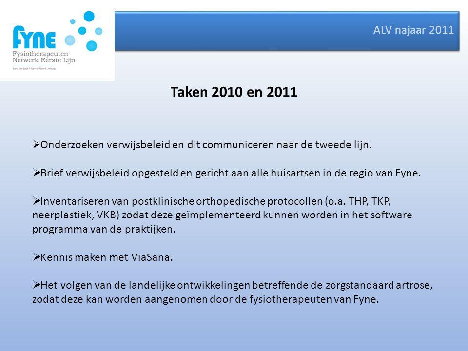 ALV najaar 2011 Taken 2010 en 2011  Onderzoeken verwijsbeleid en dit communiceren naar de tweede lijn.  Brief verwijsbeleid opgesteld en gericht aan