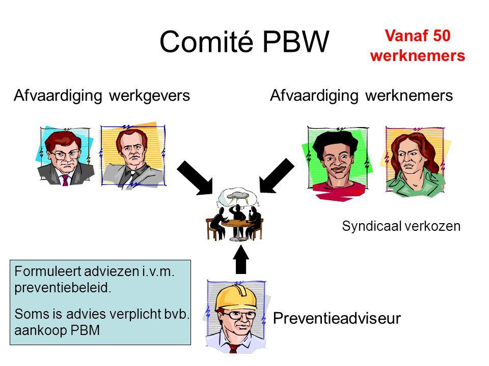 Comité PBW Vanaf 50 werknemers Afvaardiging werkgeversAfvaardiging werknemers Preventieadviseur Formuleert adviezen i.v.m.