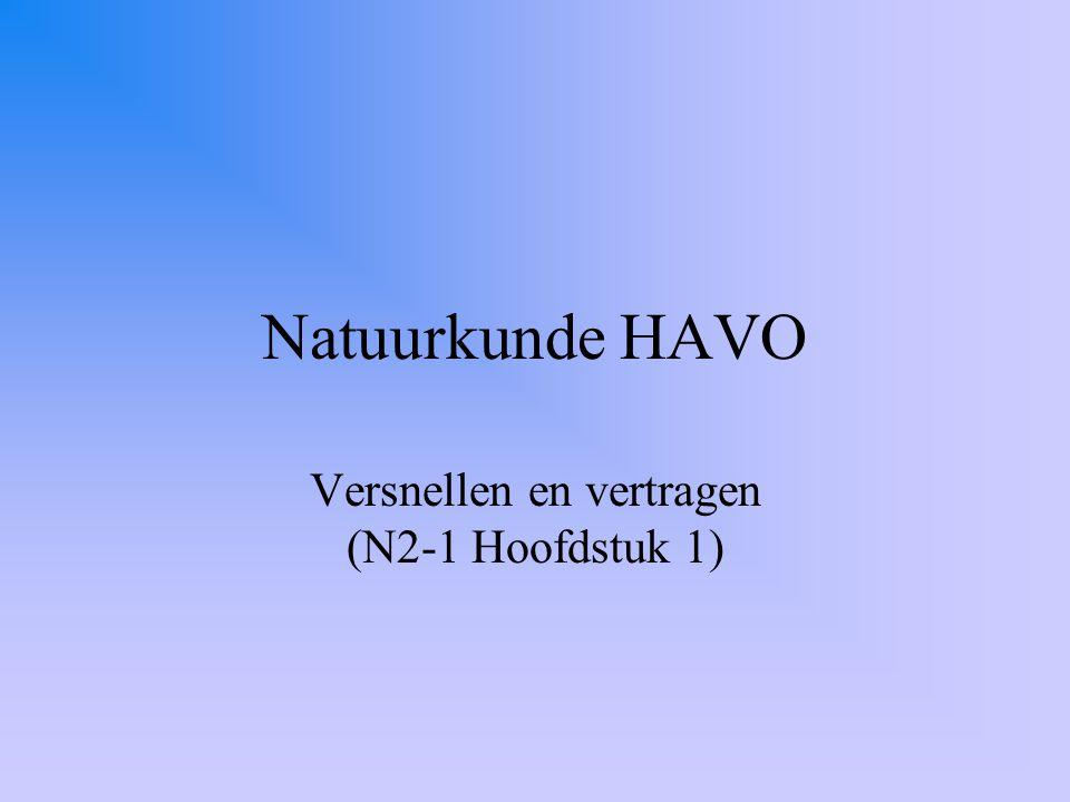 Natuurkunde HAVO Versnellen en vertragen (N2-1 Hoofdstuk 1)
