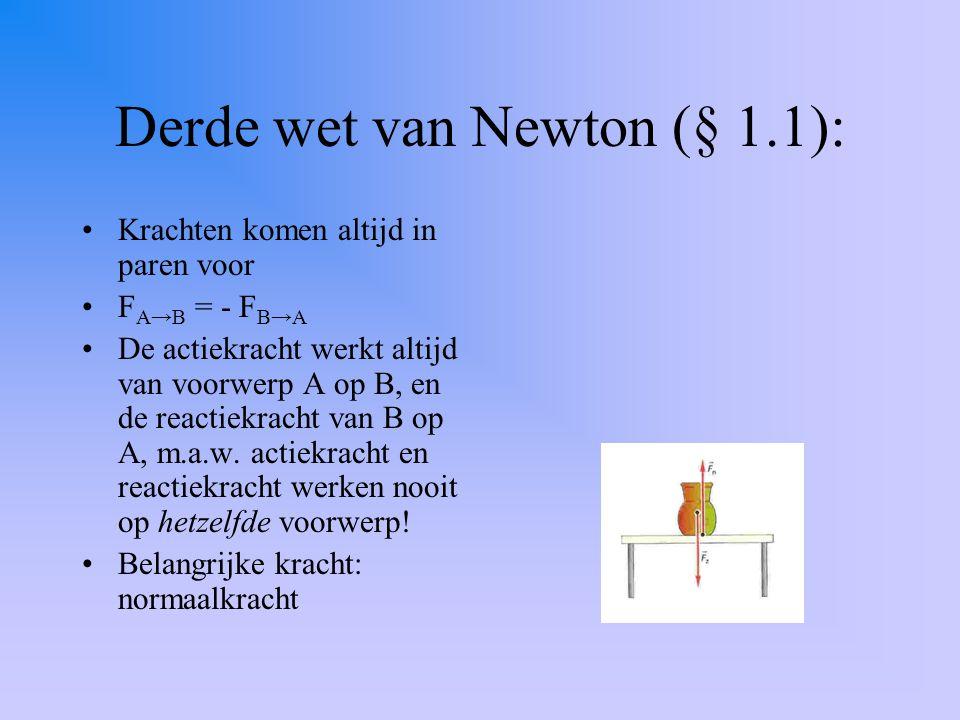 Derde wet van Newton (§ 1.1): Krachten komen altijd in paren voor F A→B = - F B→A De actiekracht werkt altijd van voorwerp A op B, en de reactiekracht