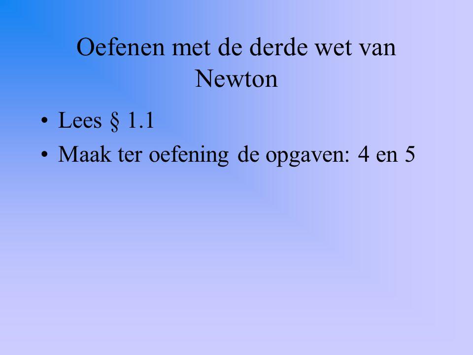 § 1.2: Herhaling drie wetten van Newton 1)als een voorwerp een snelheidsverandering ondervindt, moet er wel een kracht op werken (of: is de som van de krachten ongelijk aan 0).