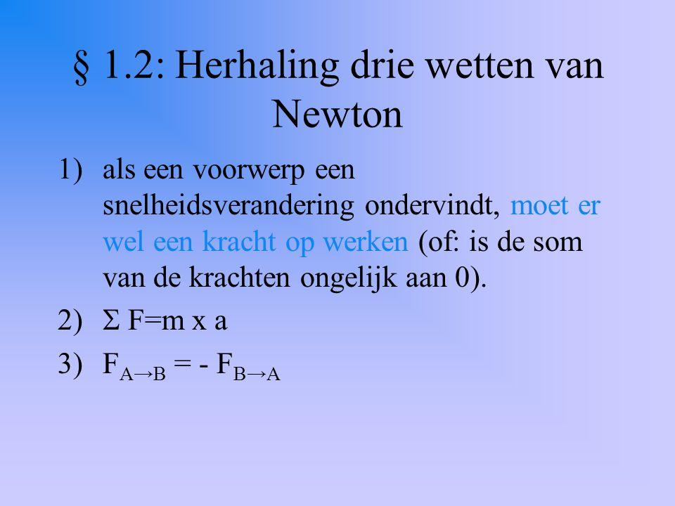 § 1.2: drie wetten van Newton toegepast op systemen en deelsystemen Systeem bestaat uit wagen A en B samen Wagen A apart heet een deelsysteem, zo ook wagen B Uitwendige krachten werken op A en B samen: het systeem: F r = (m A +m B ) x a Inwendige krachten werken op een van de beide deelsystemen F r op A = m A x a (of: F r op B = m B x a)