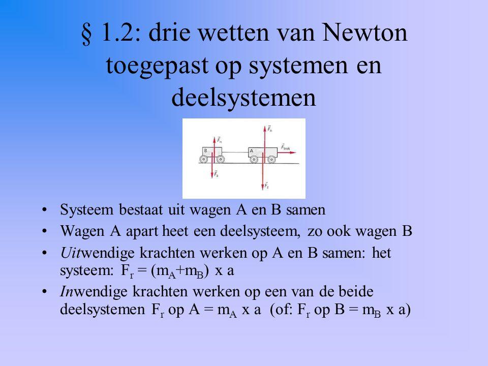 § 1.2: drie wetten van Newton toegepast op systemen en deelsystemen Systeem bestaat uit wagen A en B samen Wagen A apart heet een deelsysteem, zo ook