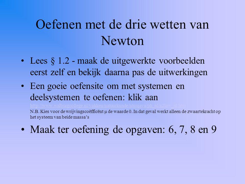 Oefenen met de drie wetten van Newton Lees § 1.2 - maak de uitgewerkte voorbeelden eerst zelf en bekijk daarna pas de uitwerkingen Een goeie oefensite