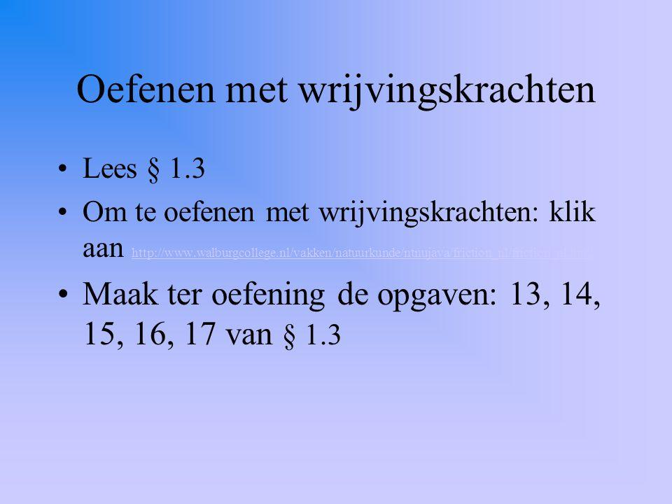 Oefenen met wrijvingskrachten Lees § 1.3 Om te oefenen met wrijvingskrachten: klik aan http://www.walburgcollege.nl/vakken/natuurkunde/ntnujava/fricti