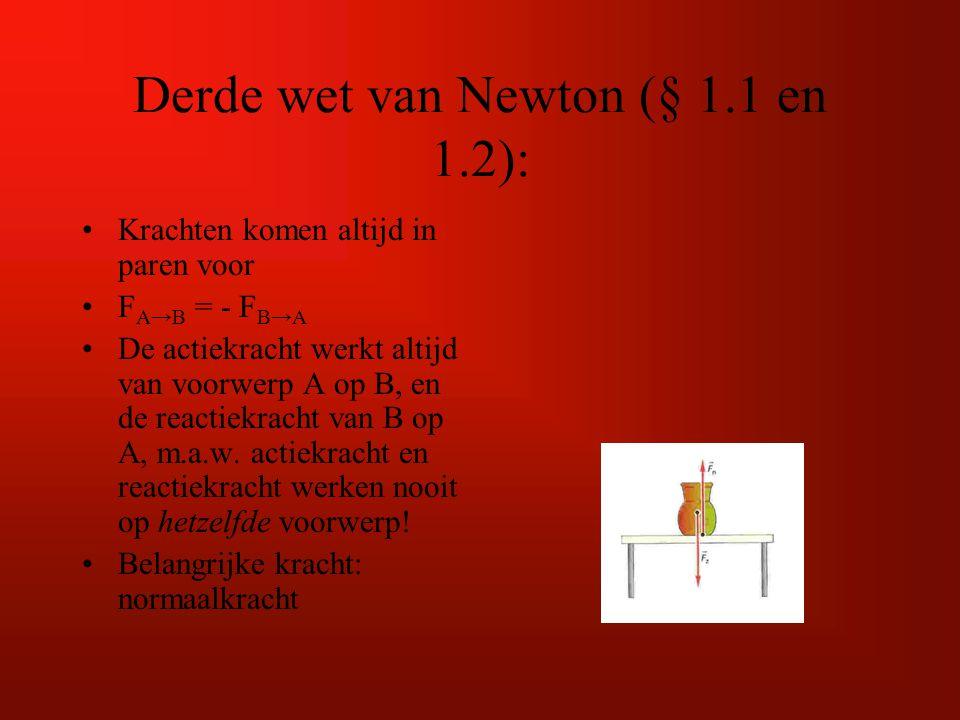 Derde wet van Newton (§ 1.1 en 1.2): Krachten komen altijd in paren voor F A→B = - F B→A De actiekracht werkt altijd van voorwerp A op B, en de reacti