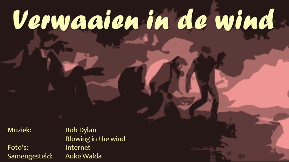 Verwaaien in de wind Muziek:Bob Dylan Blowing in the wind Foto's:Internet Samengesteld: Auke Walda