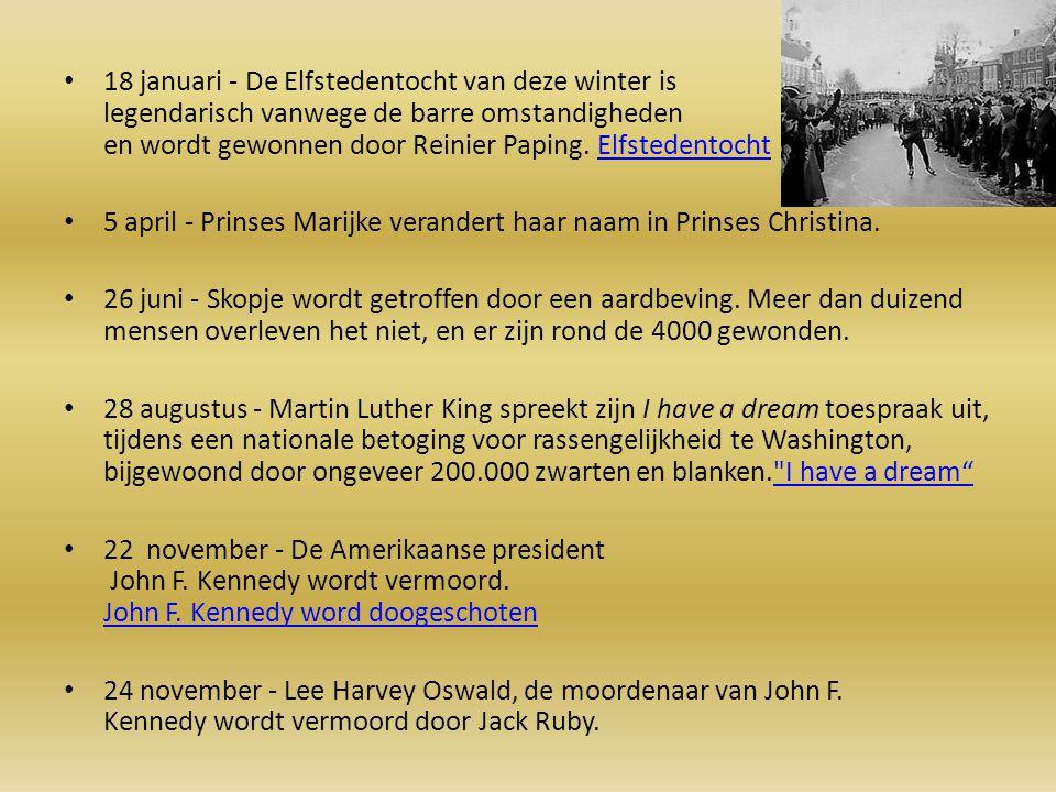 18 januari - De Elfstedentocht van deze winter is legendarisch vanwege de barre omstandigheden en wordt gewonnen door Reinier Paping. ElfstedentochtEl