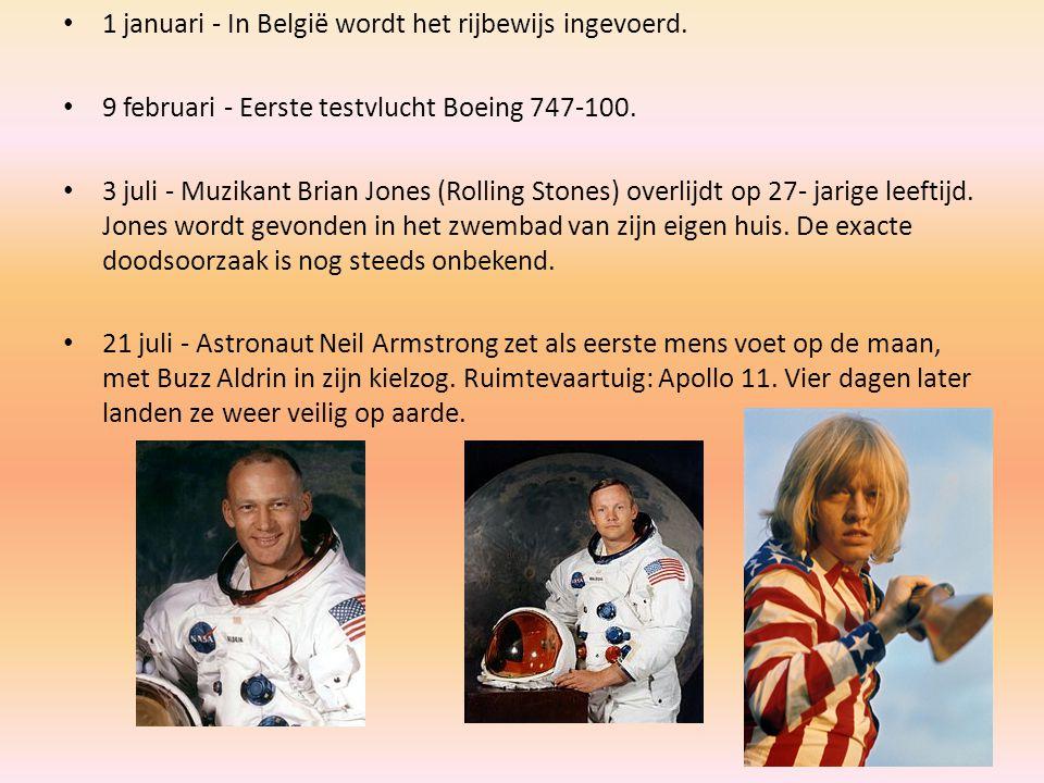 1 januari - In België wordt het rijbewijs ingevoerd. 9 februari - Eerste testvlucht Boeing 747-100. 3 juli - Muzikant Brian Jones (Rolling Stones) ove