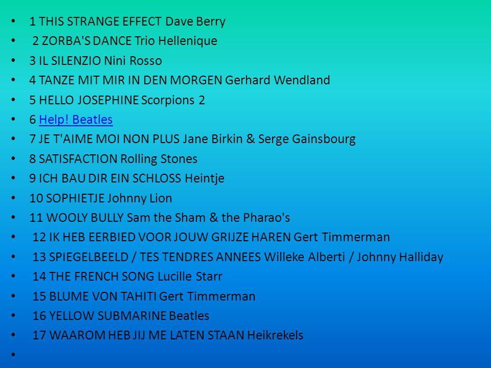 1 THIS STRANGE EFFECT Dave Berry 2 ZORBA'S DANCE Trio Hellenique 3 IL SILENZIO Nini Rosso 4 TANZE MIT MIR IN DEN MORGEN Gerhard Wendland 5 HELLO JOSEP