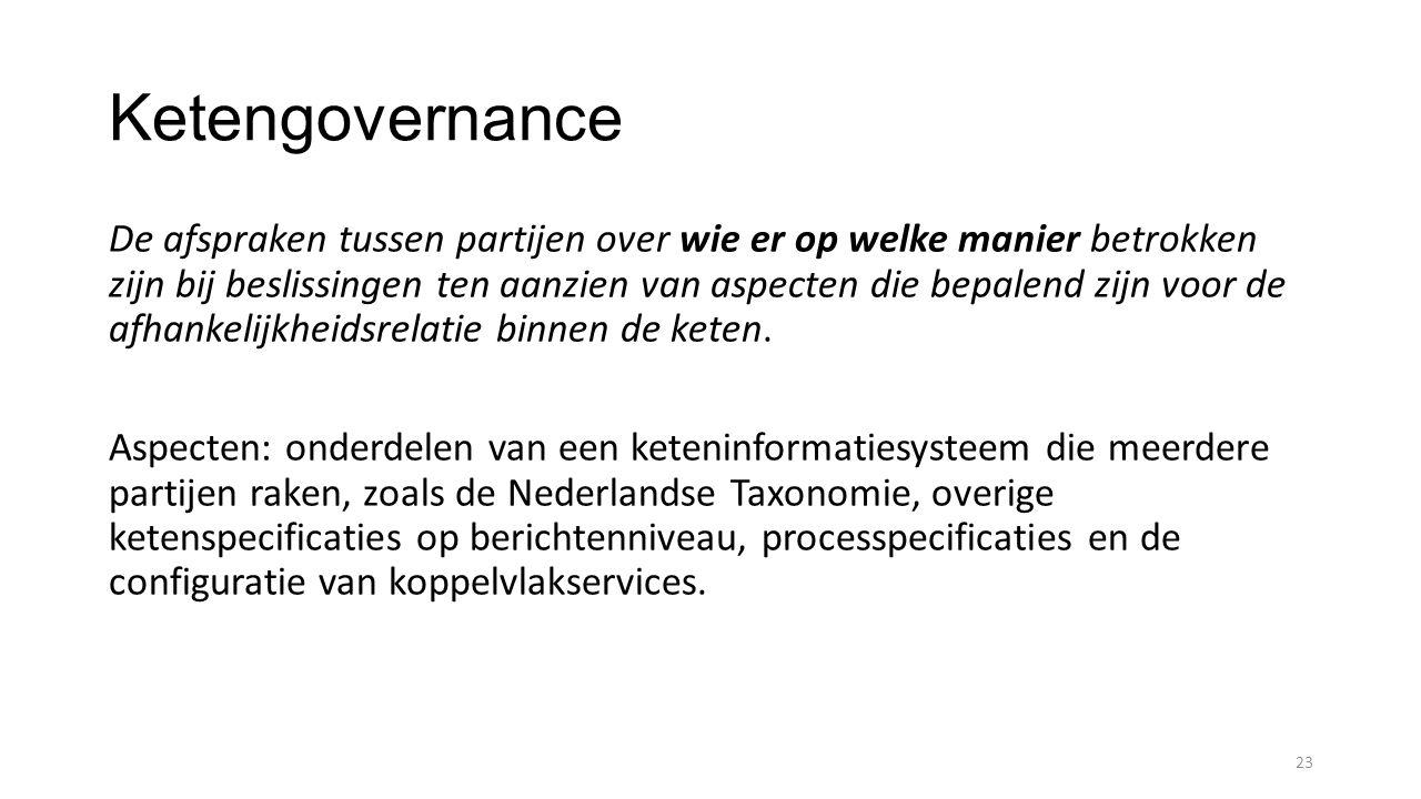 Ketengovernance De afspraken tussen partijen over wie er op welke manier betrokken zijn bij beslissingen ten aanzien van aspecten die bepalend zijn voor de afhankelijkheidsrelatie binnen de keten.