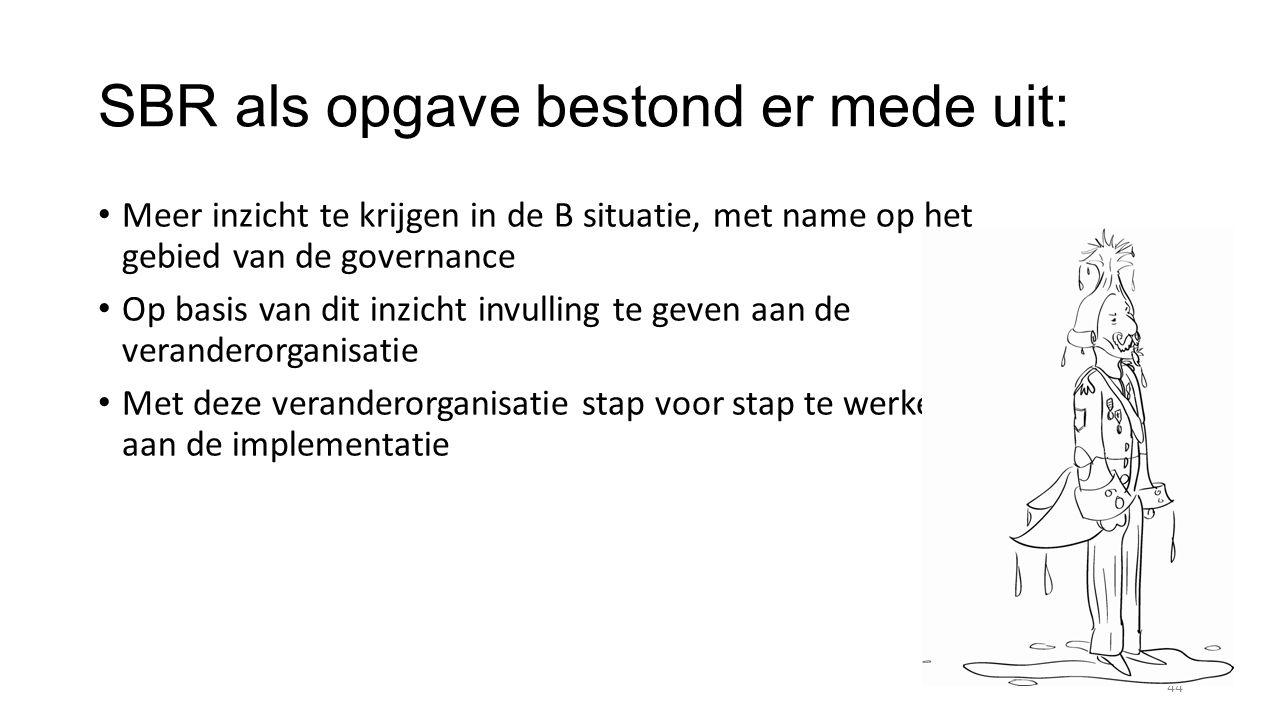 SBR als opgave bestond er mede uit: Meer inzicht te krijgen in de B situatie, met name op het gebied van de governance Op basis van dit inzicht invulling te geven aan de veranderorganisatie Met deze veranderorganisatie stap voor stap te werken aan de implementatie 44