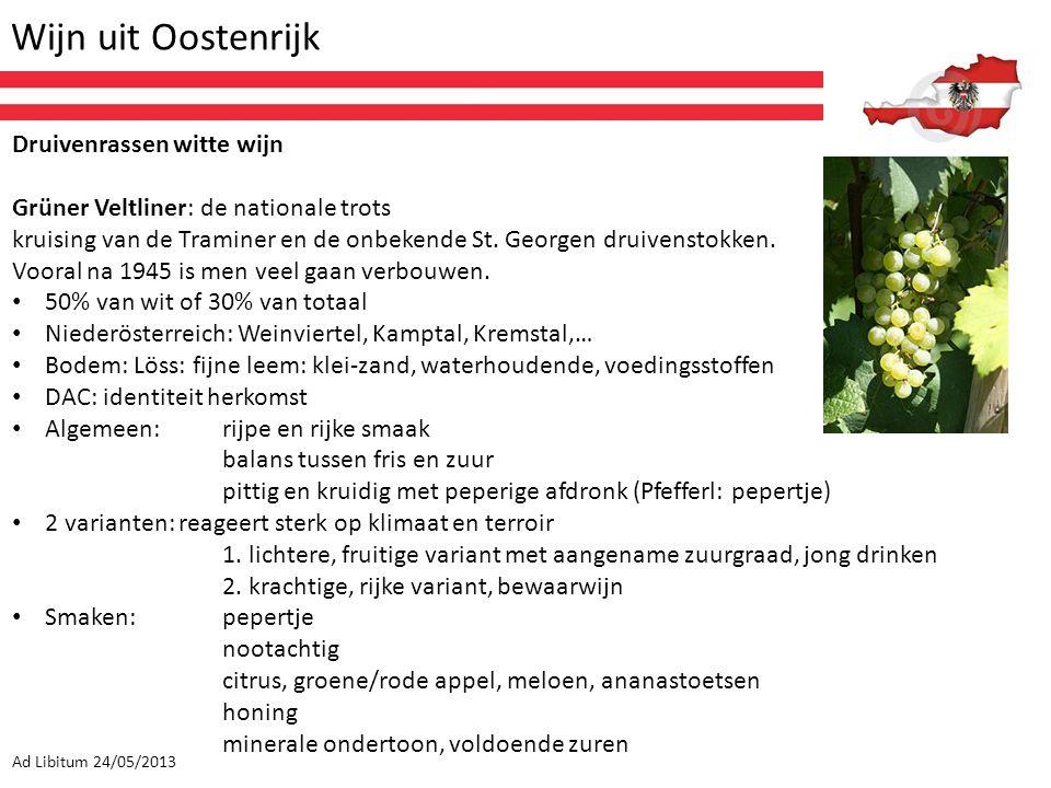 Wijn uit Oostenrijk Ad Libitum 24/05/2013 Druivenrassen witte wijn Grüner Veltliner: de nationale trots kruising van de Traminer en de onbekende St. G