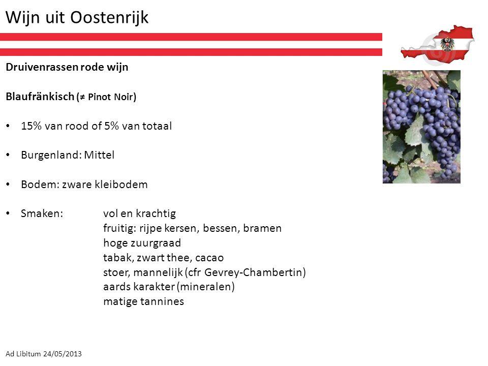 Wijn uit Oostenrijk Ad Libitum 24/05/2013 Druivenrassen rode wijn Blaufränkisch (≠ Pinot Noir) 15% van rood of 5% van totaal Burgenland: Mittel Bodem: