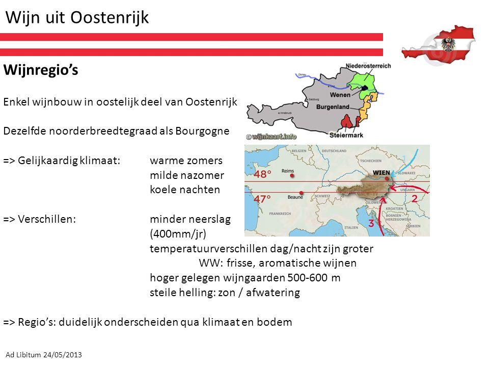 Wijn uit Oostenrijk Ad Libitum 24/05/2013 Wijnregio's Enkel wijnbouw in oostelijk deel van Oostenrijk Dezelfde noorderbreedtegraad als Bourgogne => Ge