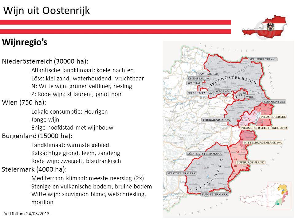 Wijn uit Oostenrijk Ad Libitum 24/05/2013 Wijnregio's Niederösterreich (30000 ha): Atlantische landklimaat: koele nachten Löss: klei-zand, waterhouden