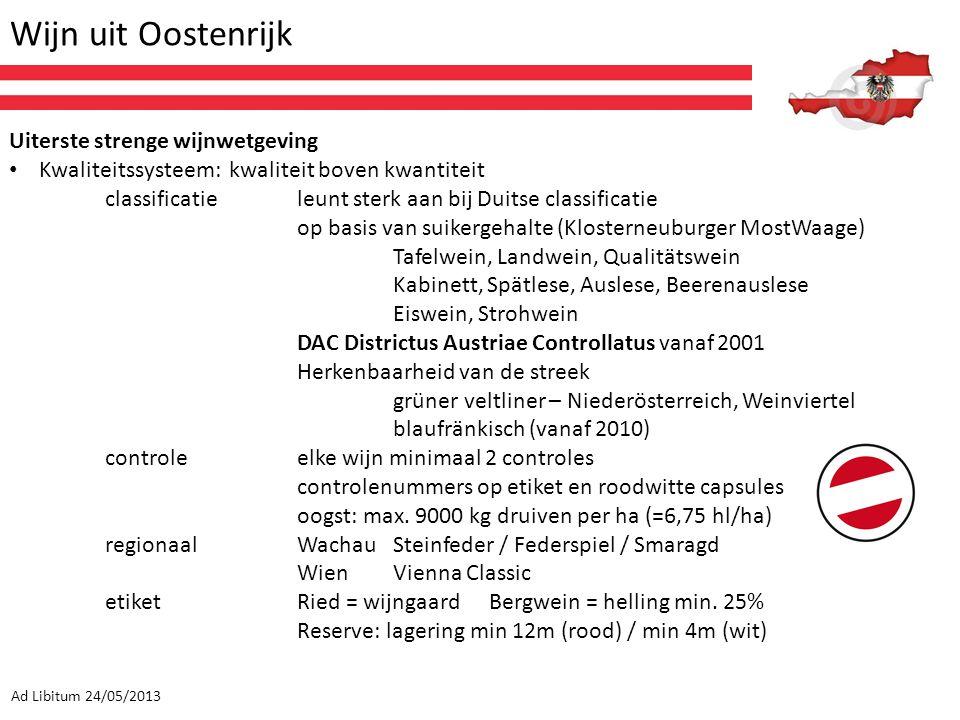 Wijn uit Oostenrijk Ad Libitum 24/05/2013 Uiterste strenge wijnwetgeving Kwaliteitssysteem: kwaliteit boven kwantiteit classificatieleunt sterk aan bi