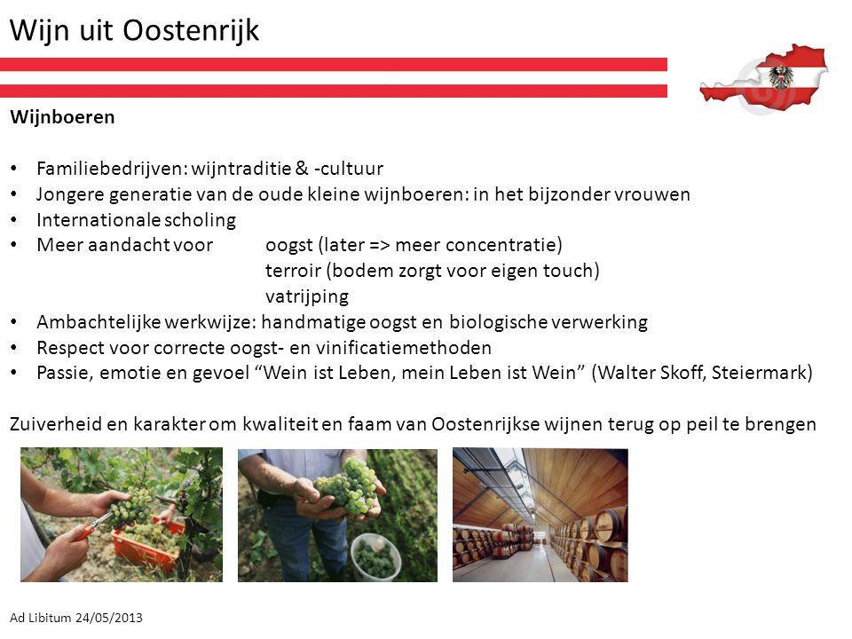Wijn uit Oostenrijk Ad Libitum 24/05/2013 Wijnboeren Familiebedrijven: wijntraditie & -cultuur Jongere generatie van de oude kleine wijnboeren: in het