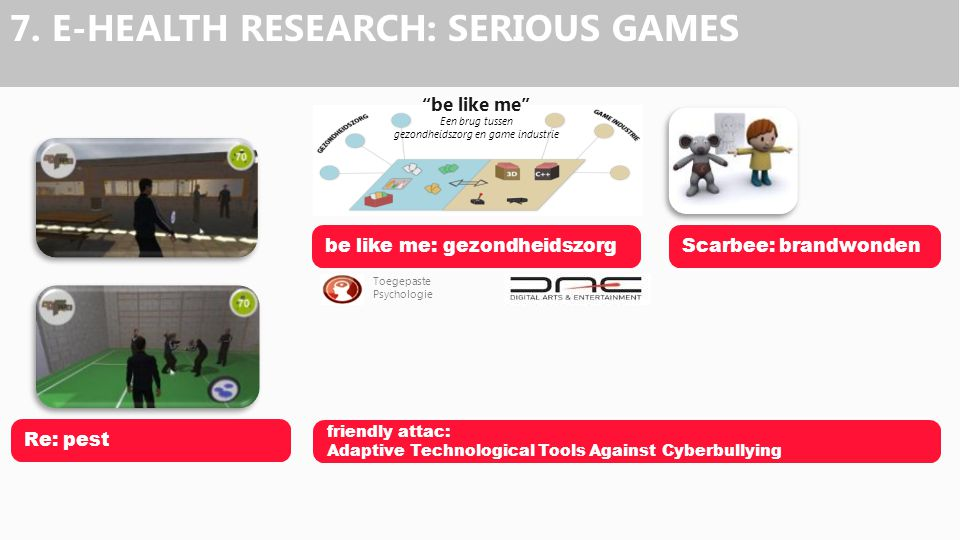 """be like me"" Een brug tussen gezondheidszorg en game industrie Toegepaste Psychologie 7. E-HEALTH RESEARCH: SERIOUS GAMES Scarbee: brandwondenbe like"