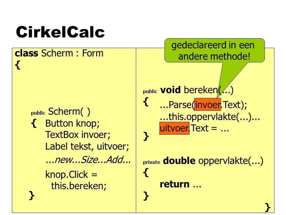 CirkelCalc class Scherm : Form { } public Scherm( ) { private double oppervlakte(...) { } } } Button knop; TextBox invoer; Label tekst, uitvoer;...new