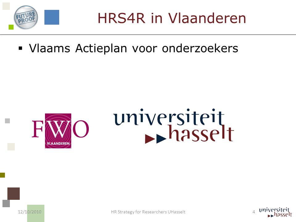 HRS4R in UHasselt  Ondertekening Europees Handvest 2007  Deelname UHasselt aan Pilootgroep:  Heidelberg/Maribor  Goedkeuring College van decanen ( 1/4/2010)  Nastreven certificering  Plan van aanpak 12/10/2010 5 HR Strategy for Researchers UHasselt
