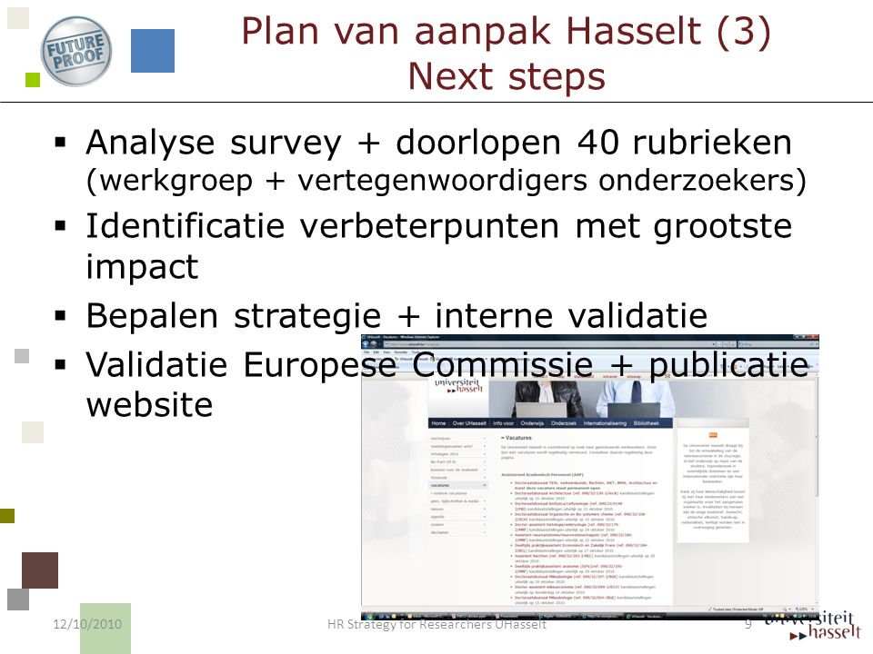  Positie Human Resources Context 12/10/2010 10 HR Strategy for Researchers UHasselt