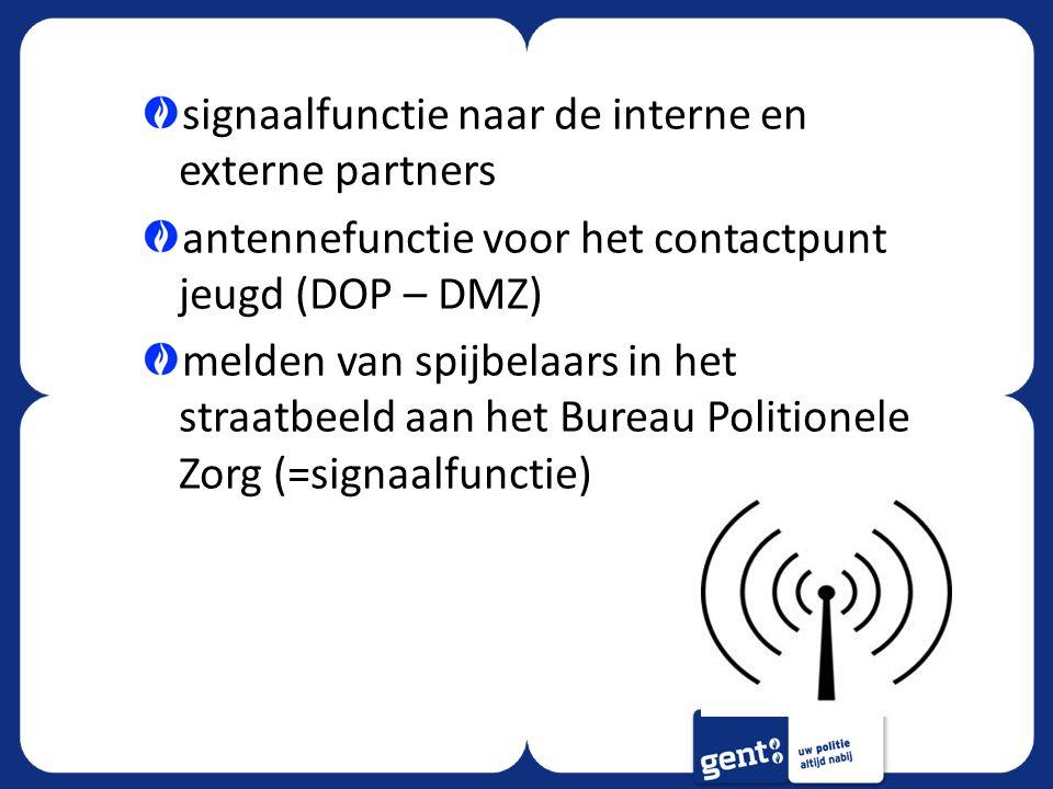 signaalfunctie naar de interne en externe partners antennefunctie voor het contactpunt jeugd (DOP – DMZ) melden van spijbelaars in het straatbeeld aan