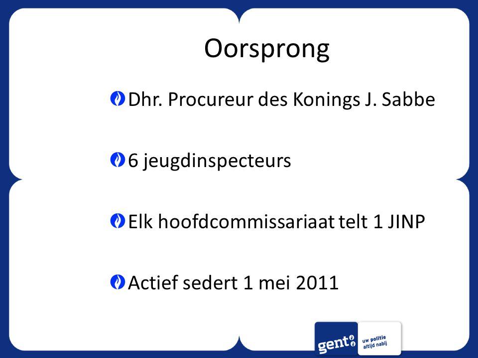 Oorsprong Dhr. Procureur des Konings J. Sabbe 6 jeugdinspecteurs Elk hoofdcommissariaat telt 1 JINP Actief sedert 1 mei 2011