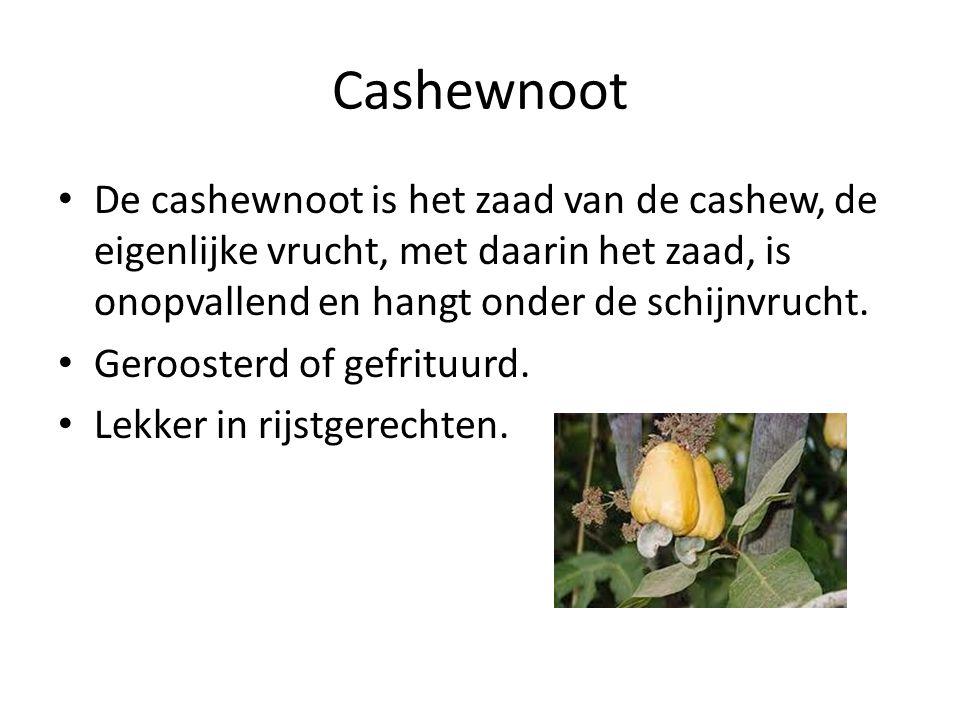 Cashewnoot De cashewnoot is het zaad van de cashew, de eigenlijke vrucht, met daarin het zaad, is onopvallend en hangt onder de schijnvrucht. Gerooste