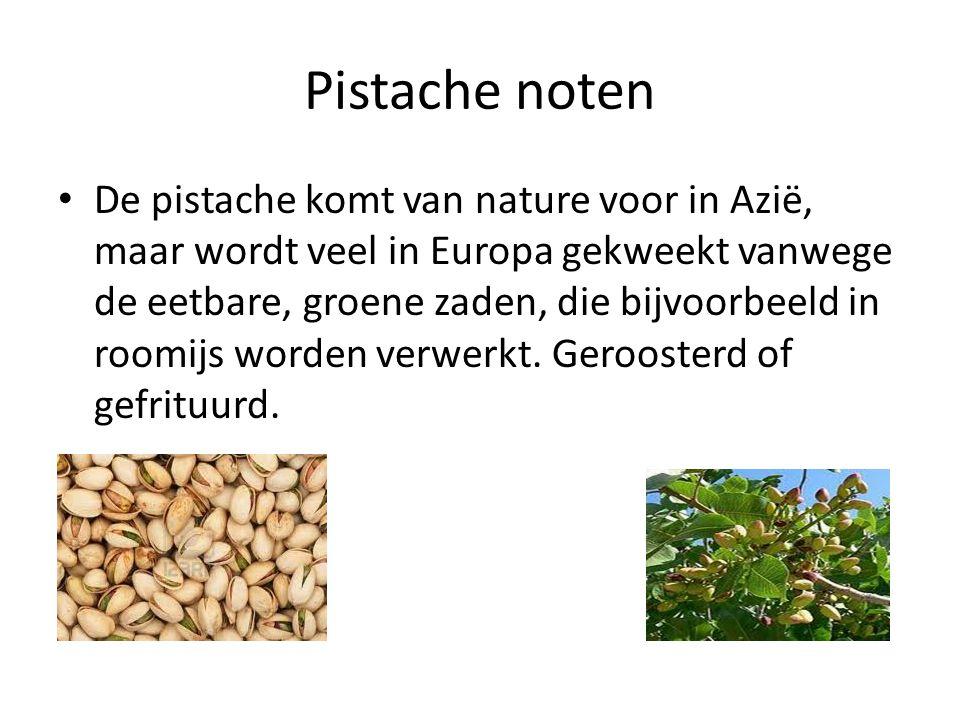 Pistache noten De pistache komt van nature voor in Azië, maar wordt veel in Europa gekweekt vanwege de eetbare, groene zaden, die bijvoorbeeld in roomijs worden verwerkt.