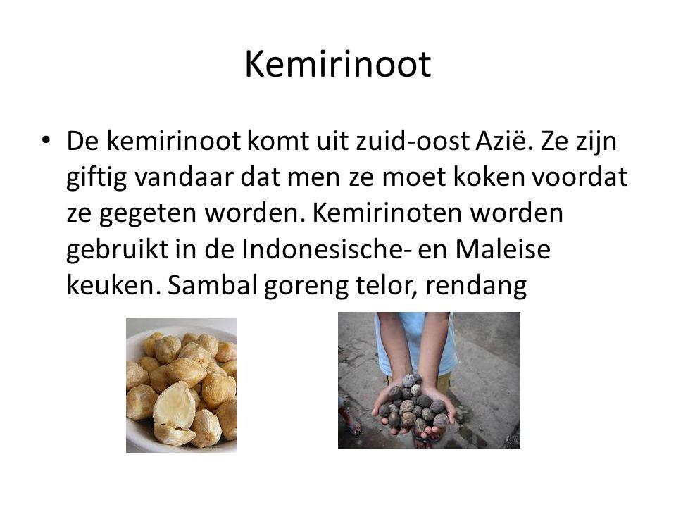 Kemirinoot De kemirinoot komt uit zuid-oost Azië. Ze zijn giftig vandaar dat men ze moet koken voordat ze gegeten worden. Kemirinoten worden gebruikt