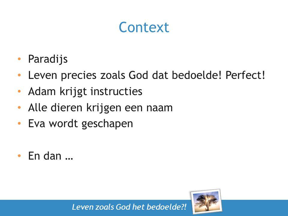 Context Paradijs Leven precies zoals God dat bedoelde! Perfect! Adam krijgt instructies Alle dieren krijgen een naam Eva wordt geschapen En dan …