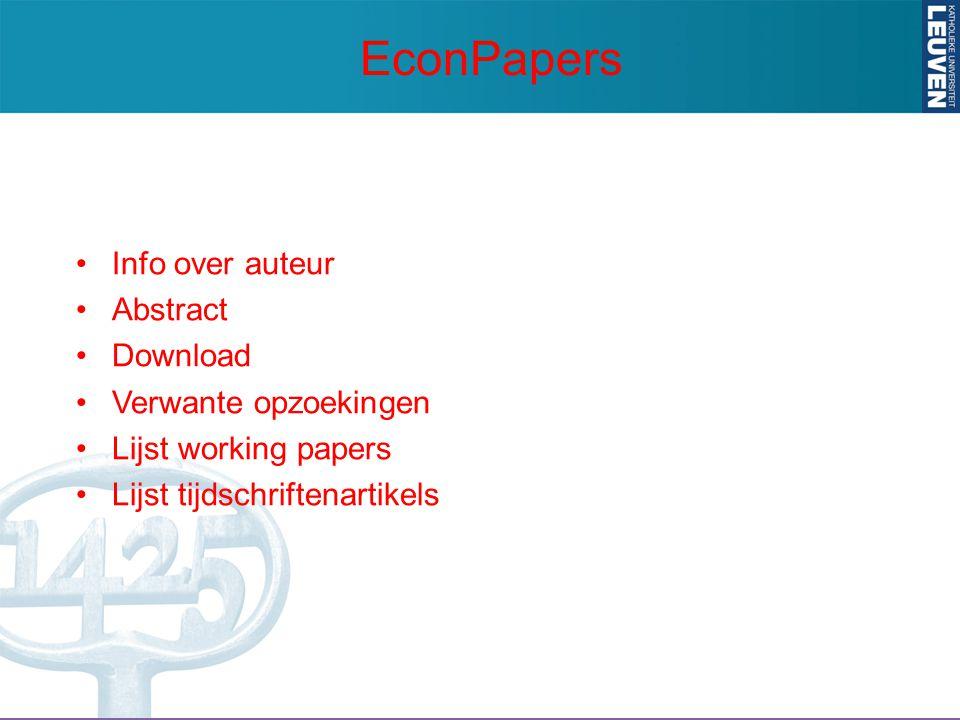Info over auteur Abstract Download Verwante opzoekingen Lijst working papers Lijst tijdschriftenartikels EconPapers