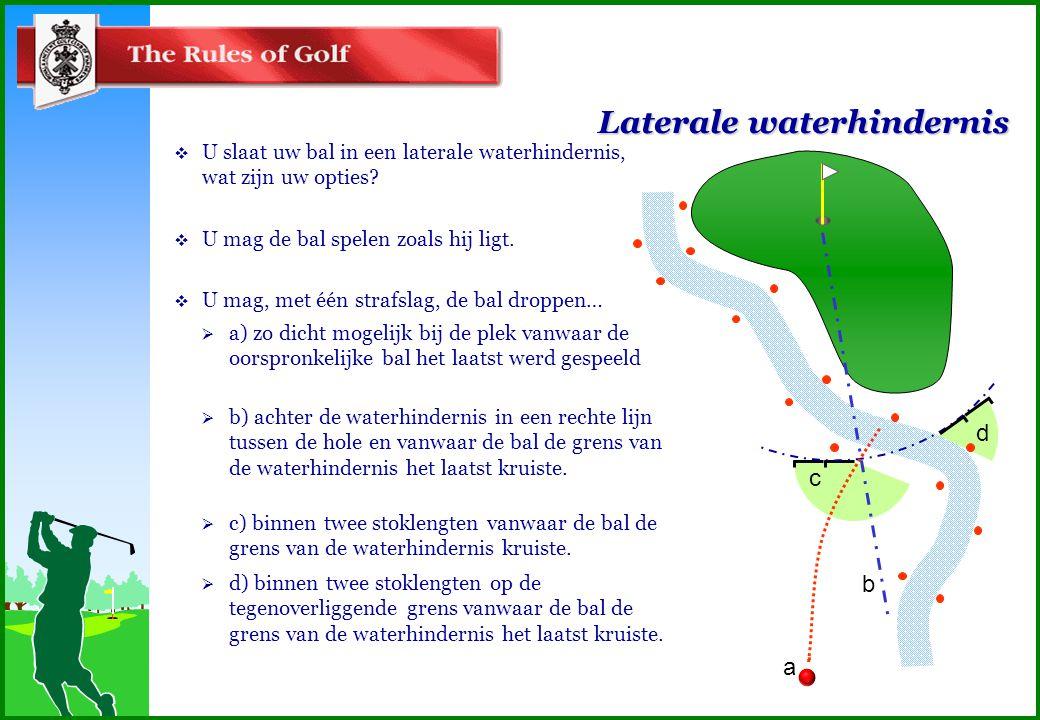 Laterale waterhindernis  U slaat uw bal in een laterale waterhindernis, wat zijn uw opties.