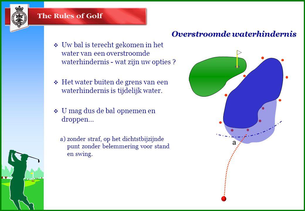 Overstroomde waterhindernis  Uw bal is terecht gekomen in het water van een overstroomde waterhindernis - wat zijn uw opties .